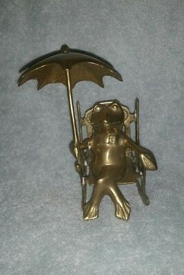 Rocking Chair Frog With Umbrella Solid Brass 7 Inches