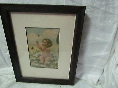 "Mission Style Dark Oak Picture Frame Old Bessie Gutmann Pic Size 7"" By 9"" Matted"