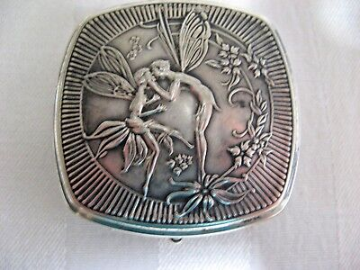 Maxfield Parrish Kissing Fairies DJER-KISS Powder Rouge Compact Silverplate