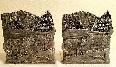 Gray Wolf Pewter Bookends