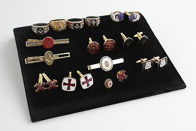 15 x Vintage Assorted MASONIC Base-Metal Cuff-Links, Tie Clips & Rings