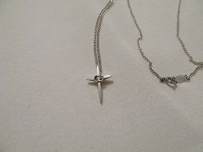 Vintage Marvel Dainty Sterling Silver Chain  Necklace With Cross Pendant