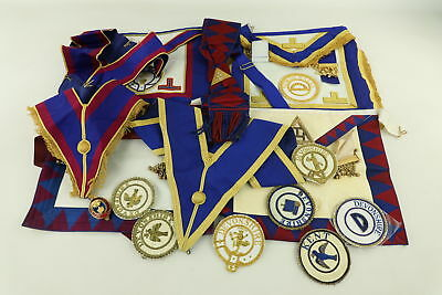 Job Lot Assorted Vintage MASONIC Regalia Inc. Aprons, Collars & Jewels Etc