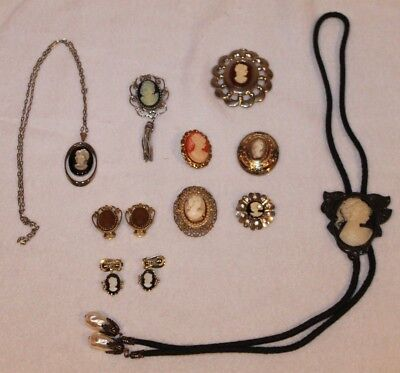 Vintage Lot ofBeautiful Cameos - BROOCHES NECKLACE EARINGS