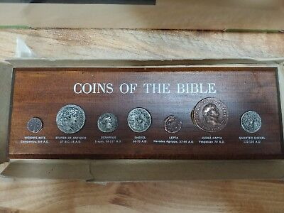 "VTG ""COINS of the BIBLE"" Mounted on Wooden Plaque Replica Coins 1969"