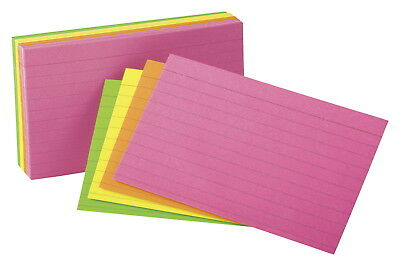 Oxford Neon Ruled Index Card, 3 x 5 Inches, Assorted Colors, Pack of 100