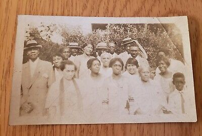 Vintage Extended Family Church Picture African American Kids Dressed Up Hats