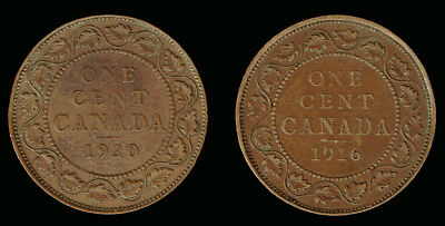 "CANADA:-2 different date ""Large George V 1 cent coins dated 1916 & 1920. AP7020"