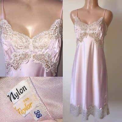 PINK Shiny SATIN NYLON Vintage FULL SLIP Wide LACE 38 Lord & Taylor Made Italy