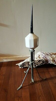 Vintage metal lightning rod with white milk glass ball patent pending embossed