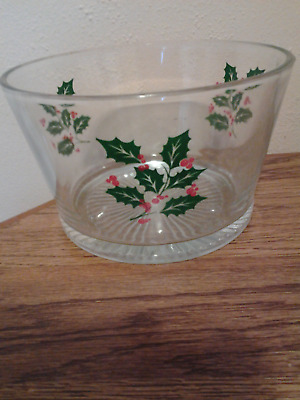 Vintage Indiana Glass Christmas Holly Berry Candy Nut Bowl Ice Bucket