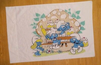 Vintage Pillow Case Smurfs Mushrooms