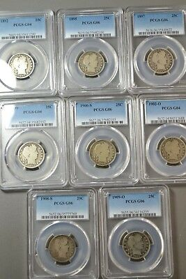 Lot 18.  Lot Of 8 Pcgs Barber Quarters Circulated Free Shipping