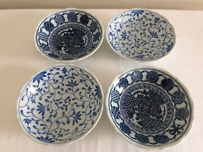 Vintage Japanese Ceramic Bowls, Blue, White Flowers, Asian, Japan, Kitchen