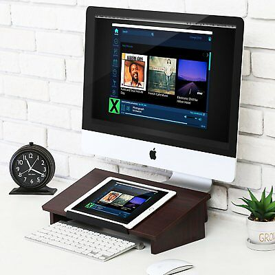 Fitueyes Computer Monitor Riser Desktop Laptop Stand Wood Office Work Station