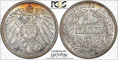Germany 1914-A 1 Mark, PCGS MS67+, superb quality from an original roll