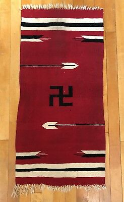 Antique Chimayo Indian Saddle Blanket with Whirling Log  Rug Not Navajo