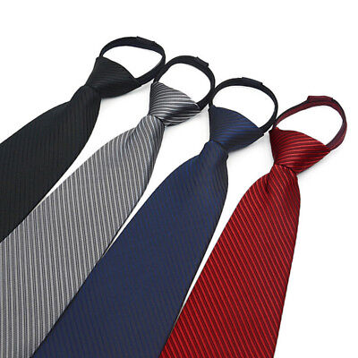 Men's Lazy Zip Necktie Business Wedding Party Slim Zip Up Neck Ties Multicolor