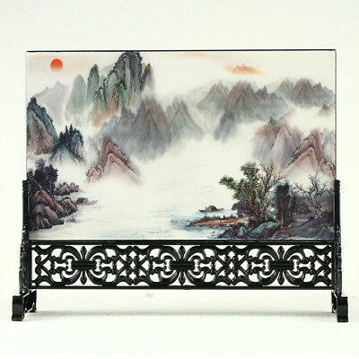 China Lacquerware Handwork Landscape Painting Screen R3005+a