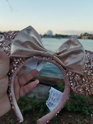 Disney Parks Rose Gold Minnie Mouse Ears Sequin Headband *NEW*