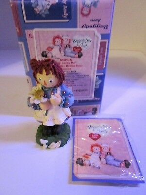 Raggedy Ann & Andy Holding Daisy ~ He Loves Me ~ #640476 Enesco New Free Ship