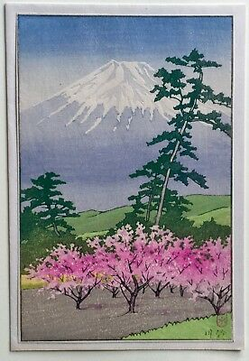 Kawase Hasui -Fuji with cherry trees  *Purchased in Japan 1947* Koban size