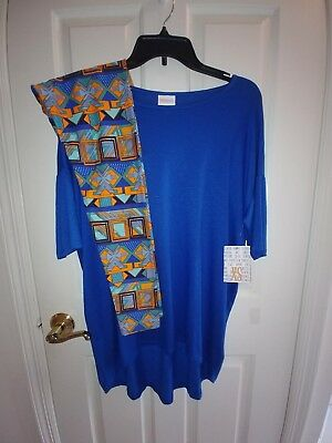 NWT LuLaRoe Outfit XS Royal Blue Irma with Aztec print OS Leggings!