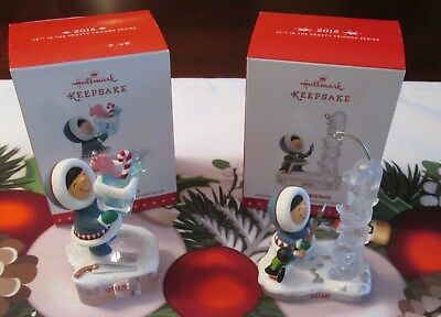 "Lot of 2 Hallmark ""Frosty Friends"" Ornaments  2015 & 2016 #36 and #37"