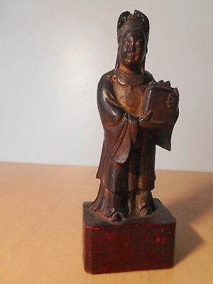 sculpture statue chinese antique wood dignitary China Asia chinese