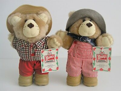 """Pair Of 1986 Wendy's Furskins Bears 6-1/2"""" Plush - Dudley & Boone"""