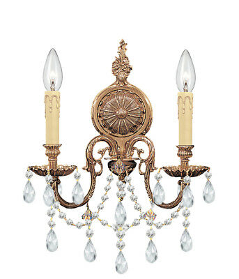 Crystorama 2702-OB-CL-SAQ Cast Brass Wall Mount Spectra Crystal Wall Sconce