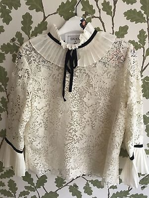 162a0b14 ERDEM X H&M White Cream Silk Blouse with Lace US SIZE 4 X-SMALL NEW ...
