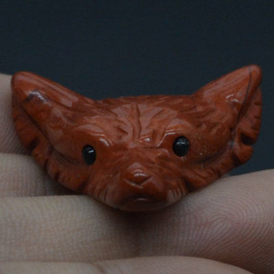 Howling Wolf Head Red Jasper Animal Pendant Hand Carved Stone Necklace Jewelry