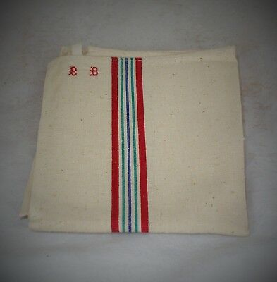 Pair Of French Antique  Striped Metis Linen Tea Towels / Torchons Bb Monogram