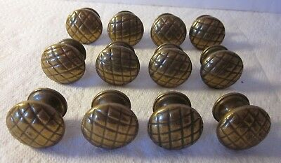Vintage 12 Heavy Solid Brass Cabinet Knobs Drawer Pull Handle, Pat Pend 1357
