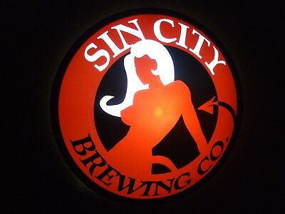 Sin City Brewery Led Beer Bar Sign Man Cave Light Las Vegas Nevada Brewing Co.
