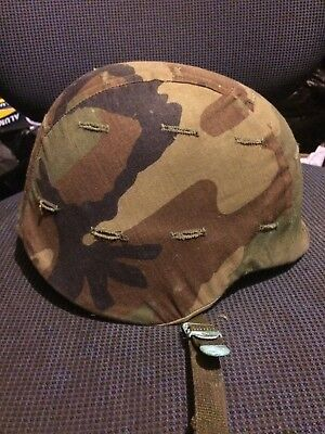 PASGT Helmet US Army Marines w/ Woodland Camo Cover - Size Medium -Good Cond