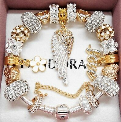 Authentic Pandora Silver Charm Bracelet Gold Angel Wing Crystal European Charms