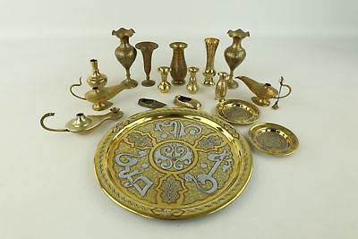 Job Lot of Assorted Decorative Brass Items Inc. Trays, Vases, Ornaments 3977g