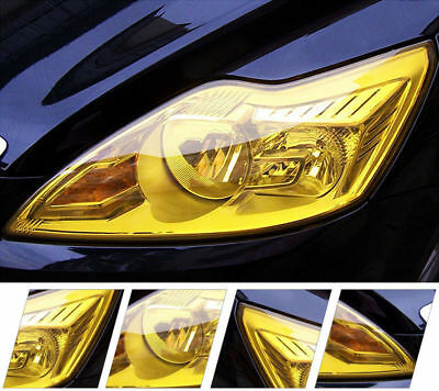 "Gold Yellow Vinyl Film Tint 12"" x 39"" Headlight Taillight Fog Wrap Cover"