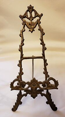 VTG Antique Victorian Style Ornate Brass colored  Easel tabletop cast iron EUC