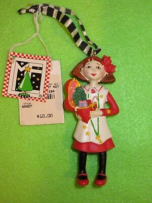 Vintage Mary Engelbreit 1994 Christmas Ornament Girl with Tags