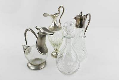 4 x Vintage Cut-Glass Decanters Inc. Silver Plate & Base-Metal Assorted Designs