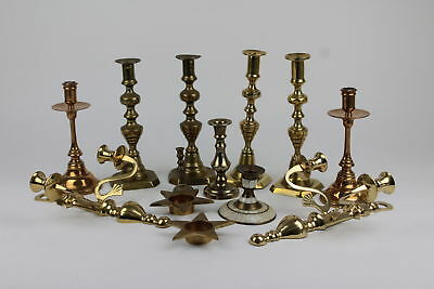 Job Lot of Vintage Assorted BRASS Candle Sticks Various Sizes Inc Matching 7361g