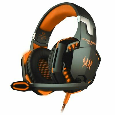 3.5mm G2000 Orange Gaming Headset LED Headphones for Mac PC Laptop PS4 Xbox One