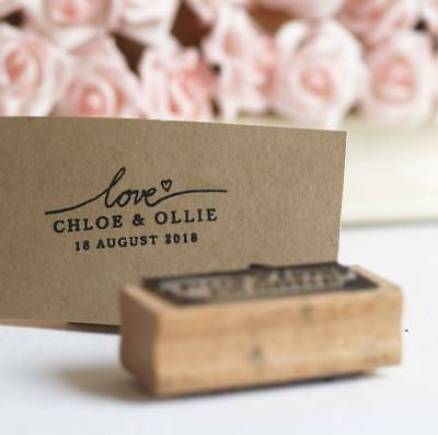 'Love' personalised Wedding favours rubber stamp