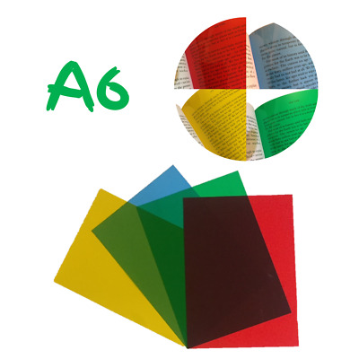 4x A6 Assorted Coloured Overlays -Visual Stress Dyslexia Reading Aid PVC Sheets