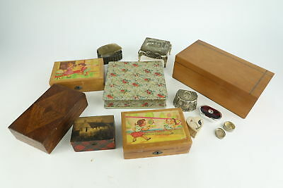 12x Vintage Decorative TRINKET BOXES Various Sizes Inc. Silver Plate & Soapstone