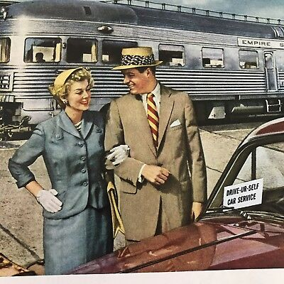 1953 VINTAGE PRINT Ad NEW YORK CENTRAL Family Image Train Travel