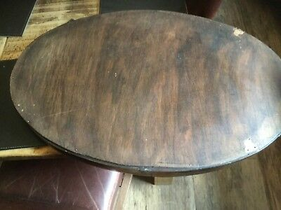 ANTIQUE EDWARDIAN oval mirror bevelled glass and hade of hard wood